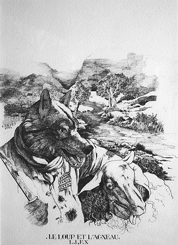 Christian richet oeuvres fables de jean de la fontaine - Dessin loup et agneau ...
