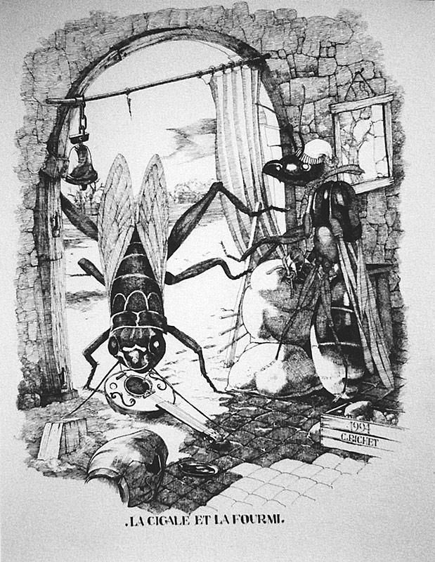 Christian richet oeuvres fables de jean de la fontaine - Dessin la cigale et la fourmi ...